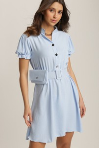 Niebieska sukienka Renee mini z krótkim rękawem w stylu casual
