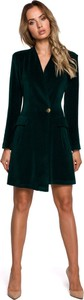 Zielona sukienka MOE mini z dekoltem w kształcie litery v z bawełny