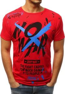Czerwony t-shirt Dstreet w młodzieżowym stylu z krótkim rękawem