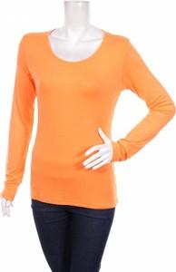 Pomarańczowa bluzka Alba Moda z okrągłym dekoltem