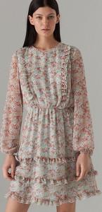 Turkusowa sukienka Mohito w stylu casual z długim rękawem