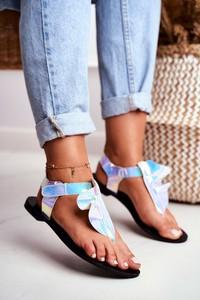 Niebieskie sandały Lu Boo ze skóry ekologicznej z płaską podeszwą na rzepy