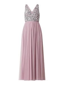 Fioletowa sukienka Lace & Beads bez rękawów