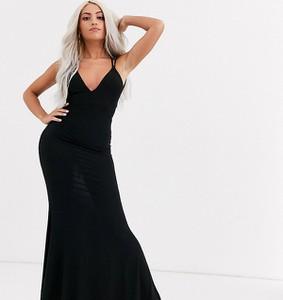 Czarna sukienka Club L London Petite z dekoltem w kształcie litery v maxi