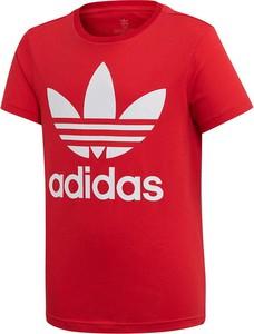 Czerwona koszulka dziecięca Adidas Originals z krótkim rękawem z dzianiny