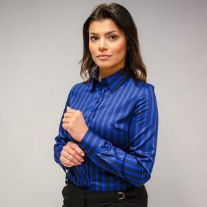 Niebieska koszula Willsoor z satyny z długim rękawem z golfem