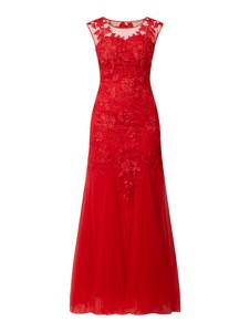 Czerwona sukienka Mascara maxi z tiulu z dekoltem w kształcie litery v