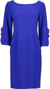 Niebieska sukienka Joseph Ribkoff z długim rękawem z dekoltem w łódkę