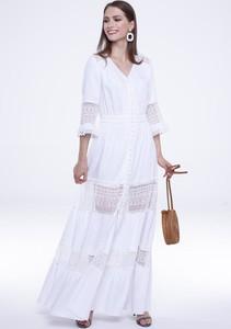 Sukienka Lavard trapezowa z dekoltem w kształcie litery v w stylu boho