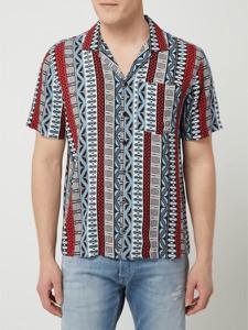 Granatowa koszula Review w stylu etno z klasycznym kołnierzykiem