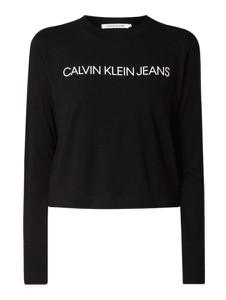 Czarna bluzka Calvin Klein z długim rękawem z okrągłym dekoltem