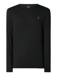 Czarny t-shirt POLO RALPH LAUREN z długim rękawem z bawełny