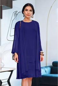 Niebieska sukienka Semper z okrągłym dekoltem mini z długim rękawem