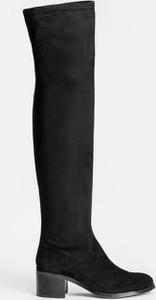 Czarne kozaki Kazar na obcasie z zamszu na zamek