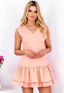 Różowa sukienka Sheandher.pl z dekoltem w kształcie litery v z krótkim rękawem z bawełny