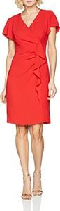 Czerwona sukienka amazon.de w stylu casual z krótkim rękawem prosta