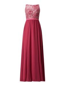 Różowa sukienka Luxuar Fashion z szyfonu maxi
