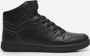 Czarne buty sportowe House ze skóry sznurowane