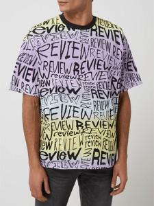 T-shirt Review z nadrukiem z bawełny w młodzieżowym stylu