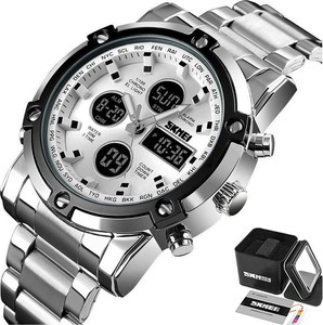Zegarek męski SKMEI 1389 bransoleta LED srebrny