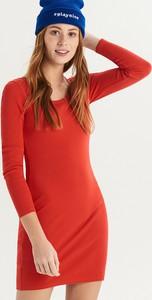 Czerwona sukienka Sinsay z bawełny z długim rękawem mini