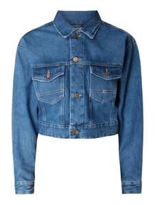 Niebieska kurtka Tommy Jeans z jeansu krótka w stylu casual