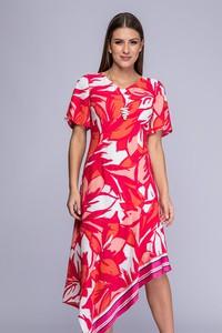 Różowa sukienka Semper midi z dekoltem w kształcie litery v