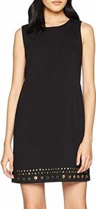Czarna sukienka amazon.de mini bez rękawów trapezowa
