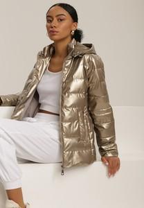Złota kurtka Renee krótka w stylu casual