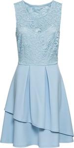 Niebieska sukienka bonprix BODYFLIRT boutique mini bez rękawów z okrągłym dekoltem