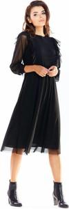 Sukienka Awama z długim rękawem z okrągłym dekoltem z tiulu
