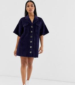 Niebieska sukienka Asos oversize mini ze sztruksu