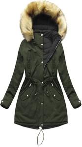 Zielona kurtka Mhm z bawełny w militarnym stylu
