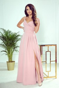 Różowa sukienka NUMOCO na ramiączkach z dekoltem w kształcie litery v maxi