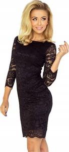 Czarna sukienka NUMOCO z długim rękawem dla puszystych mini