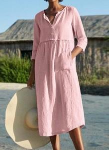 Różowa sukienka Cikelly w stylu casual maxi koszulowa