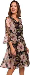 Sukienka Style z szyfonu z długim rękawem midi