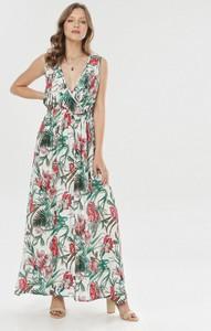 Sukienka born2be z dekoltem w kształcie litery v prosta maxi