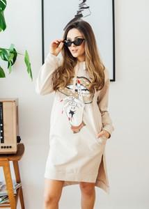 Sukienka Fanaberia Store z dekoltem w kształcie litery v w stylu casual z nadrukiem