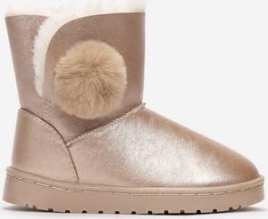 Złote buty dziecięce zimowe born2be