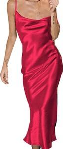 Różowa sukienka Cikelly z dekoltem w kształcie litery v prosta na ramiączkach