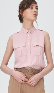 Różowa koszula Sinsay z kołnierzykiem bez rękawów