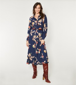 Sukienka Click z długim rękawem z dekoltem w kształcie litery v