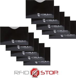 Etui na karty zbliżeniowe - Koruma (poziome, czarne, srebrne logo) zestaw 10szt.