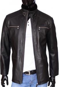Czarna kurtka Dorjan ze skóry krótka w stylu klasycznym