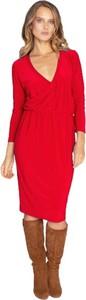 Czerwona sukienka CAHA z dekoltem w kształcie litery v