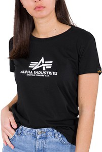 Czarna bluzka Alpha Industries z krótkim rękawem z bawełny z okrągłym dekoltem