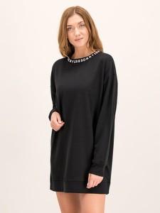 Czarna sukienka DKNY z okrągłym dekoltem z długim rękawem w stylu casual