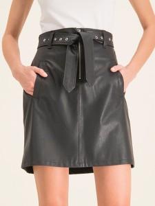 Spódnica Marella ze skóry w rockowym stylu mini
