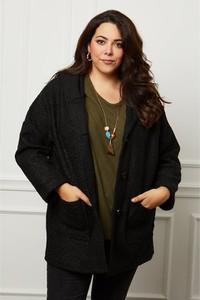 Czarny płaszcz Curvy Lady w stylu casual